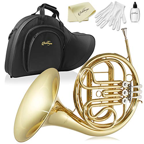 Ashthorpe Single F French Horn with Gold Lacquer Finish - Includes Case, Mouthpiece, Gloves, Cleaning Cloth and Piston Oil
