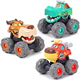iPlay, iLearn Monster Truck Toy Set, Large Friction Powered Pull Back / Push & Go Play Vehicles, Big...