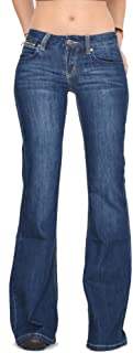 70s Style Hipster Bell-Bottom Flared Jeans - Dark Blue