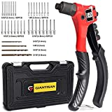 Rivet Gun, GIANTISAN Pop Rivet Tool Kit with 200 Rivets and 4 Drill Bits, Manual Hand Riveter Kit with Rugged Carrying Case