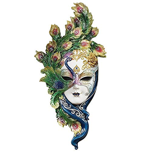 Design Toscano Peacock Feather Masks of Venice Wall Sculpture, Full Color
