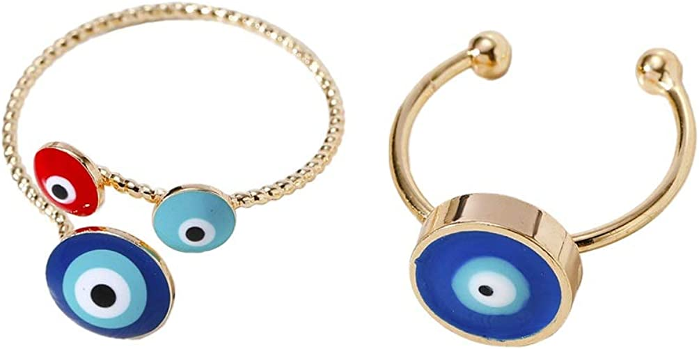 2 Pieces Blue Devil's Eye Finger Rings Hands Embrace Enamel Open Rings Adjustable Couple Gold Rings Romantic Lover Wedding Ring Jewelry Gifts