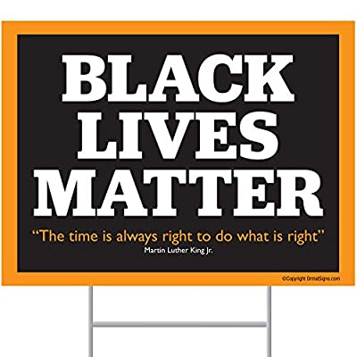 """ORMAT Black Lives Matter Yard Sign 24"""" x 18"""" Corrugated Plastic Yard Signs with Stakes H-Frame Ground Stake Sign Holder"""