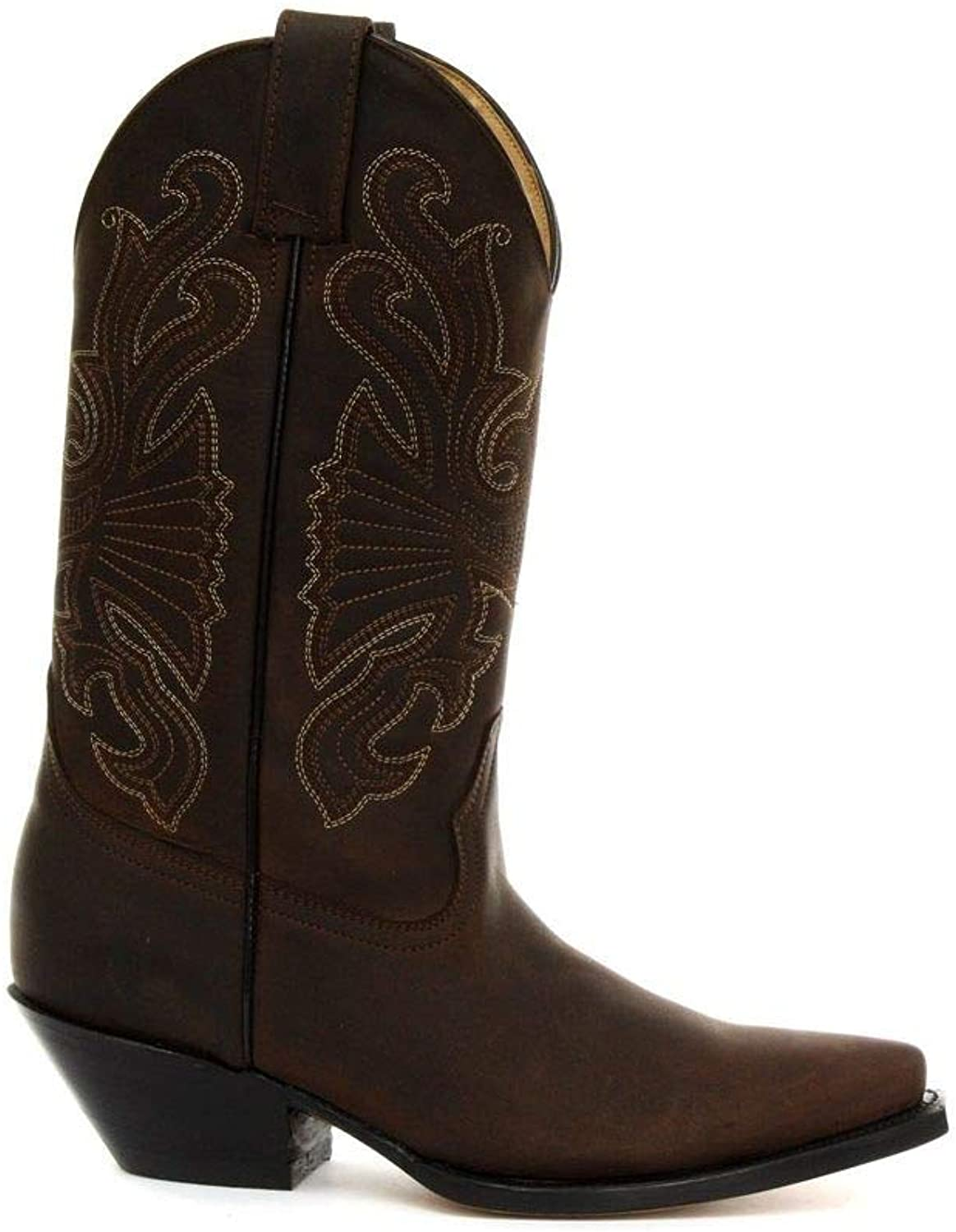 Grinders Buffalo Brown Mens Ladies Cowboy Western Slip On Pointed Leather Boots