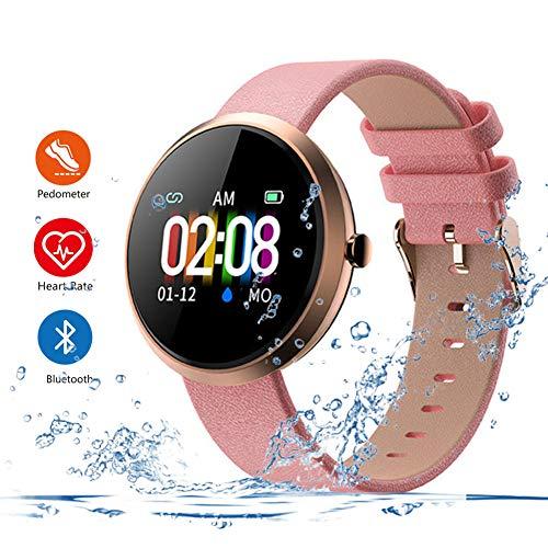Z-XFY Smart-Armband, Durable Klassische Empfindliche Sport Physiologische Management-Smart-Armband-Uhr-IP67 Herzfrequenzmesser Fitness Armband DREI Farben Frauen,Rot