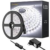 Onforu LED Luces de Tiras, Tira de LED 5M, Blanco Frío 6000K con 300 LEDs, Cadena de Luz LED Flexible, Incluido 12V Adaptador con...