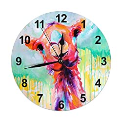 Waldel 10 Inch Personalized Wall Clock Cute Llama Happy Smile Battery Operated Decorative Round for Home Bedroom Office Easy to Read, Gift for Kids