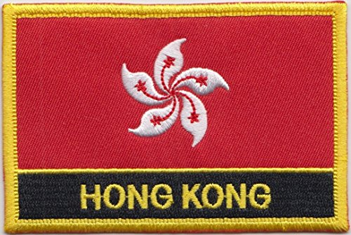 1000 Flags Bestickter rechteckiger Aufnäher mit Hongkong-Flagge, zum Aufnähen oder Aufbügeln