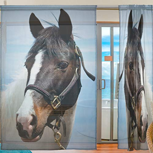 Ahomy 2 Panels Voile Fenstervorhang Pferd Tüll Sheer Gardine für Wohnzimmer Fenster Schlafzimmer 198 x 139,7 cm, Polyester, Multi, 139.7x198.1 cm