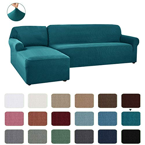 CHUN YI 2 Pieces L-Shaped Left Chaise Jacquard Polyester Stretch Fabric Sectional Sofa Slipcovers Dust-Proof L Shape Corner 2 Seats Sofa Cover Set for Living Room(Teal)