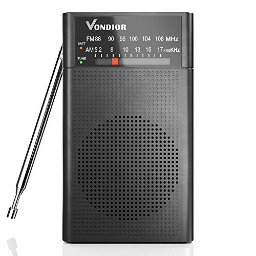 AM FM Radio - Best Reception and Longest Lasting. AM FM Battery Operated Portable Pocket Player Operated by 2 AA Battery, Mono Headphone Socket, by Vondior (Black)