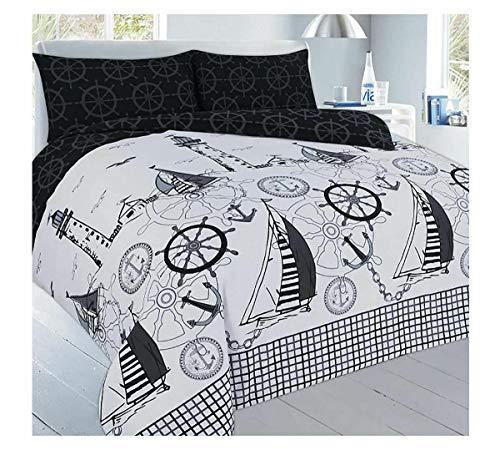Eshoppingwarehouse Jake Sailor And Anchors - Juego de ropa de cama moderno con funda de edredón y funda de almohada, diseño de marinero y anclas,