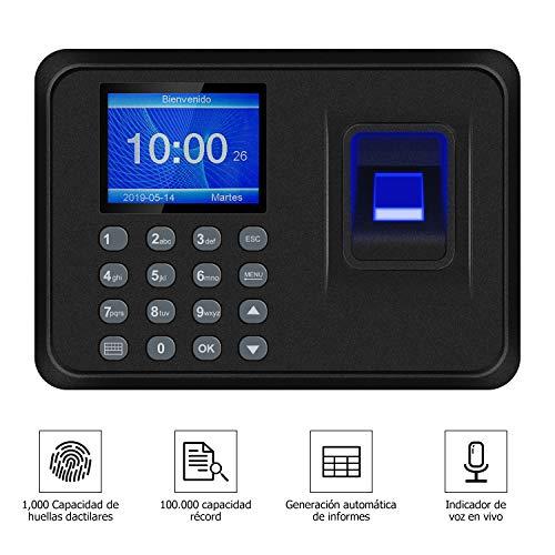 Máquina de asistencia, Máquina biométrica inteligente de asistencia de huellas dactilares, Pantalla de 2.4 Pulgadas TFT LCD, Sistema Española (Negro)