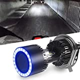 Car Work Box H4 LED Motorcycle Headlight Bulb w/Angel Eye DRL 9003 HS1 Hi/Lo Beam 6400LM CSP Chips Conversion Kit (1 Pack, 6000K White)