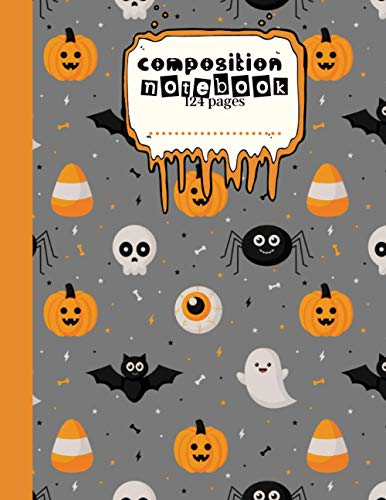 """composition notebook-124pages: large Halloween book for kids, 8.5""""x11"""" - wide ruled - bat, pumpkin, ghost and spide pattern."""