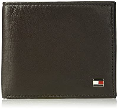 Tommy Hilfiger Men's Leather Wallet - RFID Blocking Slim Thin Bifold with Removable Card Holder and Gift Box, Oxford Brown