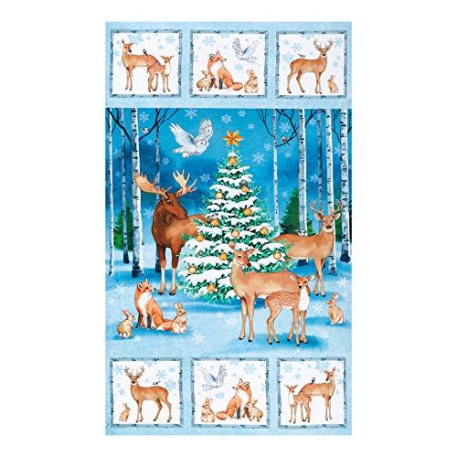 Northcott Christmas Woodland Xmas 24in Panel Blue Multi Quilt Fabric