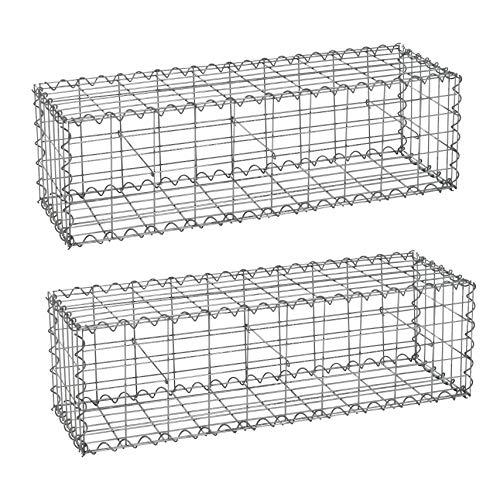 ESTEXO Gabionen 100 x 30 x 30 cm 2er Set, inklusive Spiralen und Distanzhalter