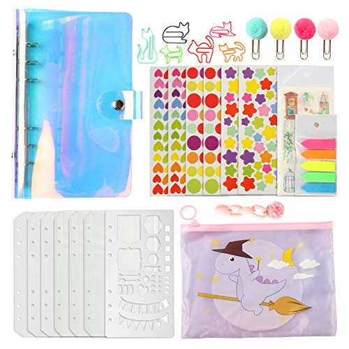 A6 6-Ring Binder Cover Rainbow Holographic Clear PVC Loose Leaf Binder Refillable Notebook Cover Protector Planner Painting Stencils for Filler Paper