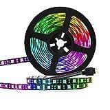 DYB Barra de luz LED de 5 m alimentada por batería, Tira de luz LED de Cinta RGB 2835, con Control Remoto de 44 Teclas, Adecuada para Luces de decoración de Clubes/Fiestas/Festivales