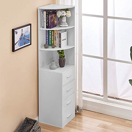 Huisen White Living Room Bookcase Storage Cabinet Corner Slimline Tall Bookcase with 4 Drawers Wood Bathroom Unit Cupboard Sideboard Cabinet for Small Space
