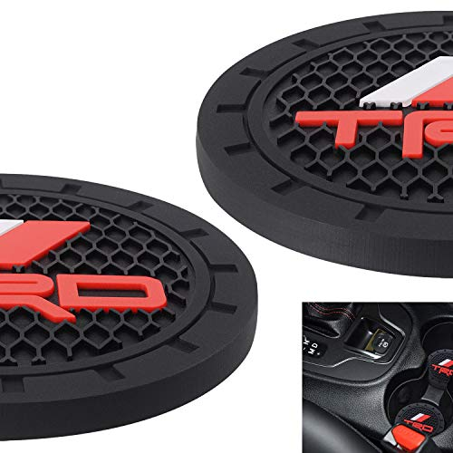 AOOOOP Car Interior Accessories for Toyota TRD PRO Cup Holder Insert Coaster - Silicone Anti Slip Cup Mat For Toyota Racing Development Sequoia Tundra Tacoma 4Runner TRD PRO (Set of 2, 2.75' Diameter)