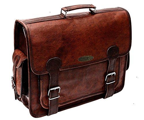 Handmade World Brown Leather Messenger Bag For Men 18 Inch Big Women Shoulder Cross Body Brown Laptop Computer Briefcase Bag - Best Vintage Look