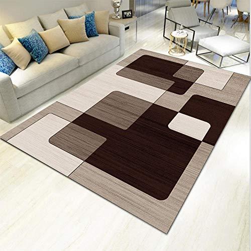 Outdoor-QJ Alfombras Moderna Sala de Estar Diseño Geométrico Antideslizante Blanco marrón Home Habitación Infantil Dormitorio Alfombra 160x230CM