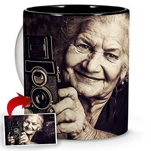 LolaPix Tazas Personalizadas. Regalos Personalizados con Foto. Taza Personalizada de cerámica. Taza con Interior de Color Negro.