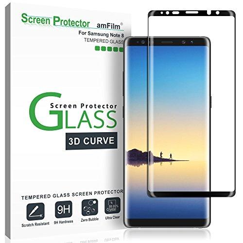 amFilm Protector Pantalla para Note 8, Anti-Burbujas (3D Curvo) Cristal Vidrio Templado Protector de Pantalla para Samsung Galaxy Note 8 (Negro)