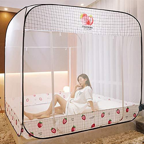 CHL Moustiquaire lit Mesh Installation sans Anti-moustiques 360 degrés Pliage Double Porte Anti-Chute supérieure moustiquaire carré