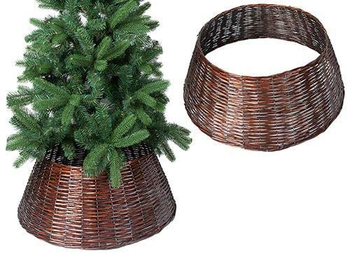 ALT90 Christmas Willow Tree Skirt Base Cover Grey Brown silver Wicker Decoration [Brown]