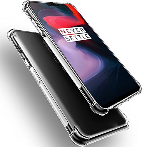 Amazon Brand - Solimo Shockproof Transparent Soft TPU Back Case Mobile Cover for OnePlus 6
