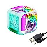 Réveils numériques Licorne pour les filles, Cube LCD LED de nuit brillante avec...