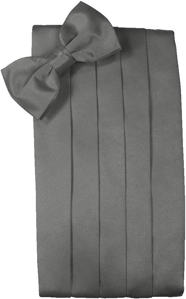 Men's Solid Satin Cummerbund & Bow Tie Set - Many Colors (Charcoal)