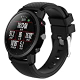 JiaMeng Correas para HUAMI Amazfit Stratos Smart Watch 2 Banda de Pulsera de Repuesto de Silicona Suave Sports Band(Negro)