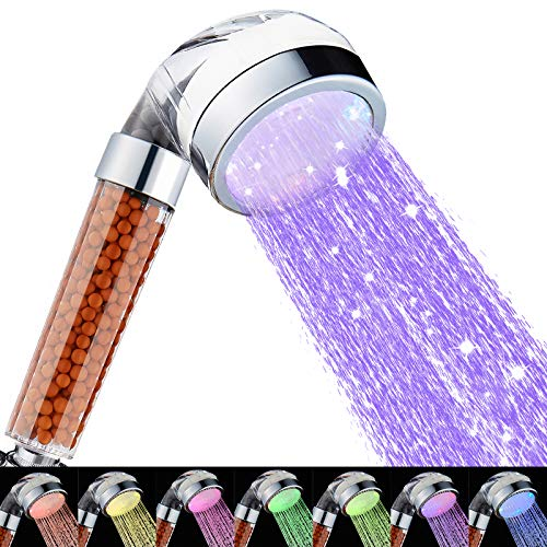 Cobbe Led Shower Head, Filter Filtration High Pressure Water Saving 7 Colors Automatically No Batteries Needed Spray Handheld Showerheads