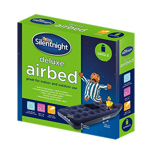 Silentnight Deluxe Airbed Single - Air Mattress with Built-in Foot Pump for Camping