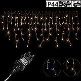 VOLTRONIC 200 400 600 LED Eisregen Lichterkette für innen und außen, Farbwahl: warmweiß/kaltweiß/kaltweiß+warmweiß, GS geprüft, IP44, optional mit 8 Leuchtmodi/Fernbedienung/Timer