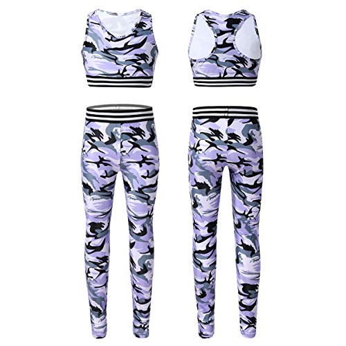 CHICTRY Kids Girls' 2 Piece Athletic Leggings with Tank Crop Tops Outfits Sets for Gymnastics Sports Workout Fitness Camouflage Lavender 8-10 Years