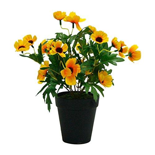 Decovego Sonnenhut Echinacea Künstliche Pflanze Topfpflanze Kunstpflanze 30 cm Gelb Dekoration
