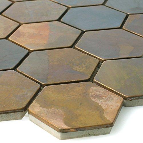 Mosaikfliesen Kupfer Merkur Sechseck Braun 48 | Wandfliesen | Mosaik-Fliesen | Hexagon Polygon | Fliesen-Bordüre | Ideal für die Küche und Badezimmer (auch als Muster erhältlich)