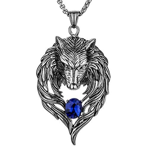 YACQ - Collares de Acero Inoxidable para Hombre y Mujer, diseño de Lobo