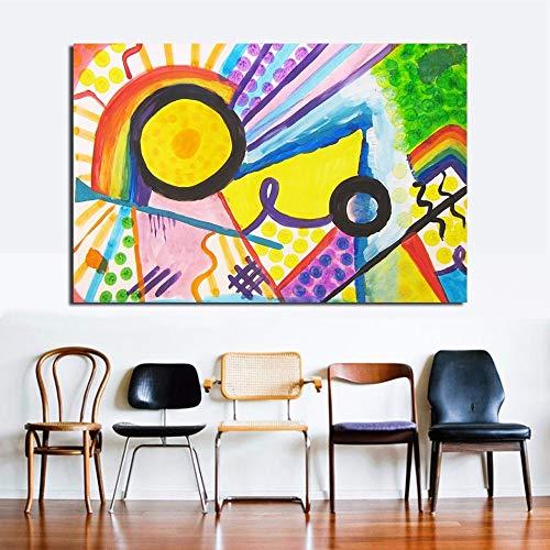 PVZADEW Cuadro en acrílico Cuadros Abstractos Coloridos del Arte de la Pared para la Sala de Estar Dormitorio decoración del hogar Lienzo Arte Pintura al óleo Wassily Kandinsky 70X100Cm