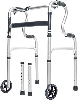 Morimoe Folding Walker with Wheels,Stand-Up Aid,Portable,Lightweight,Aluminum Alloy