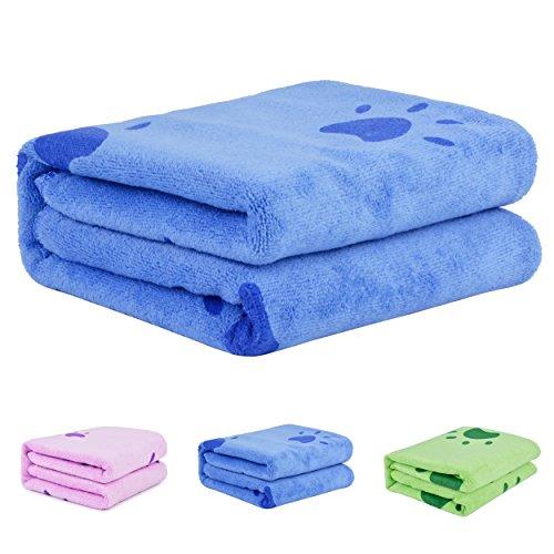 Handtuch Hunde, Legendog Großer Weich Hundehandtuch Hunde Bademantel Microfiber Schnelltrocknend Warm Haustierhandtuch für Hunde Katzen 140* 70 CM Blau