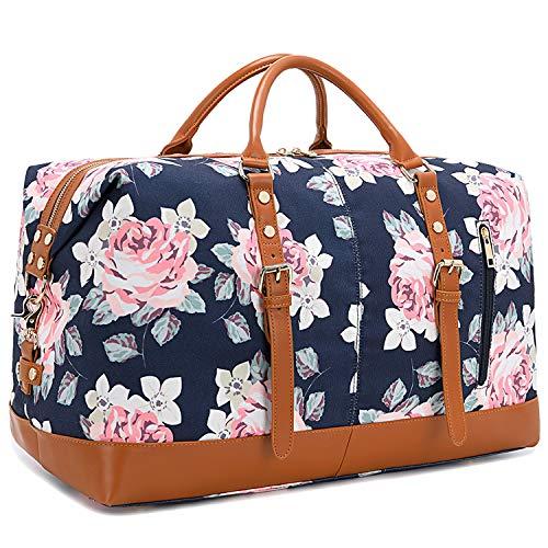 CAMTOP Weekend Travel Bag Ladies Women Duffle Tote Bags PU Leather Trim Canvas Overnight Bag (Flower-Dark Blue)