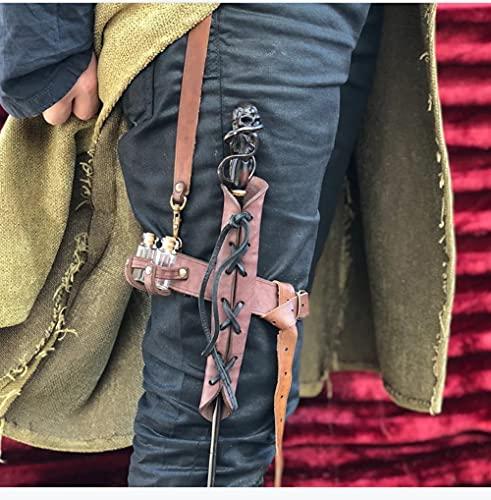 MKIU Armadura Retro De Cuero para Las Piernas, Polainas Gticas Ajustables, Kit De Disfraz De Caballero Vikingo Medieval Funda para Zapatos De Cosplay para Hombre,Marrn