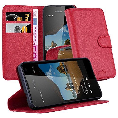 Cadorabo Hülle für Nokia Lumia 550 in Karmin ROT - Handyhülle mit Magnetverschluss, Standfunktion & Kartenfach - Hülle Cover Schutzhülle Etui Tasche Book Klapp Style