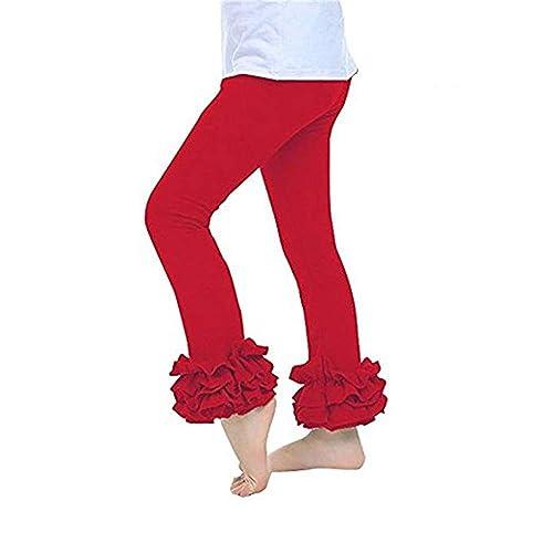 e44c03fa11bad voqoomkl Little Girls Ankle Length Knit Footless Ruffle Tights Leggings